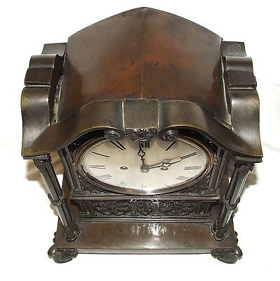 Antique Gothic BRONZE Twin Double Fusee Bracket Mantel Clock CLEANED & SERVICED 10