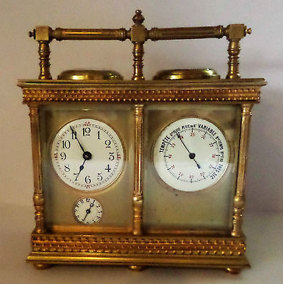 Antique French Double Carriage Clock Barometer / Alarm  / Compass Set 3
