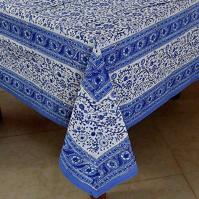 ... Handmade Floral Block Print Tablecloth Cotton 60x90 Inch Rectangular  Blue White