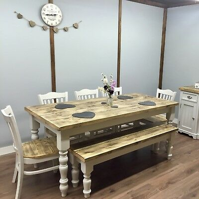 Remarkable Farmhouse Shabby Chic Rustic 6Ft Dining Table Chairs Cjindustries Chair Design For Home Cjindustriesco