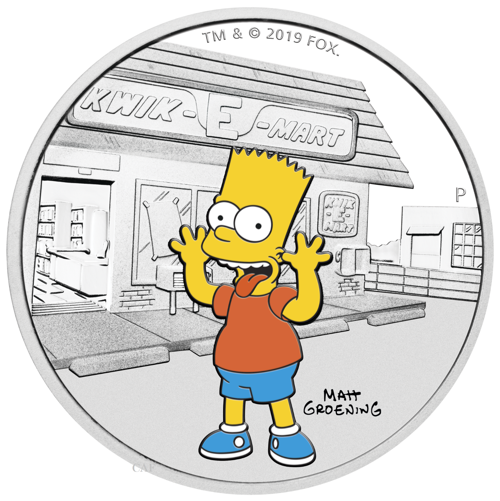 2019 The Simpsons - Bart Simpson 1oz $1 Silver 99.99% Dollar Proof Coin 5
