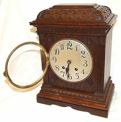 Antique LENZKIRCH Carved Oak Bracket Clock : CLEANED AND SERVICED 4