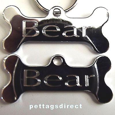 POLISHED DOG BONE Design Pet Id tag + 20mm Split Ring CLEAR Engraved FINISH 42mm 7