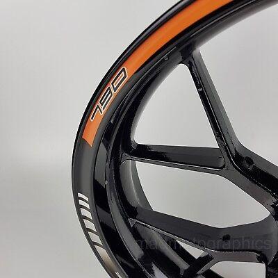 790 Duke motorcycle wheel decals rim stickers stripes laminated set orange 4