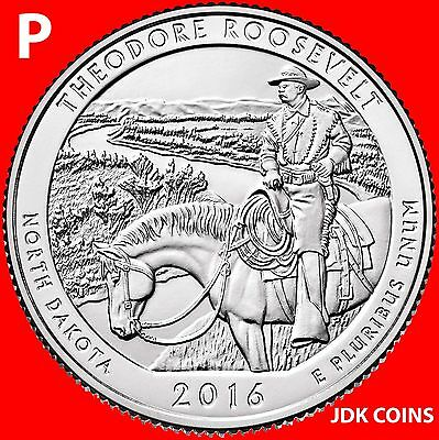 2016 Pds Theodore Roosevelt National Park (Nd) Three Quarters Set Uncirculated 2