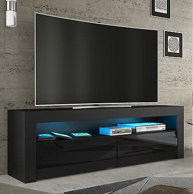 tv rack fernsehschrank lowboard sideboard hochglanz weiss schwarz mit led157 eur 139 00. Black Bedroom Furniture Sets. Home Design Ideas