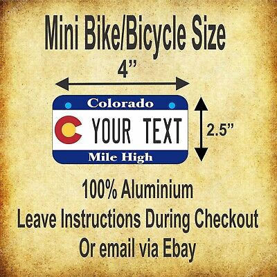 """50 States Any Text Personalize Custom 2.5""""x4"""" Mini Bike Bicycle License Plate 2"""