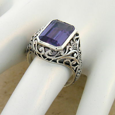 8 CT COLOR CHANGING LAB ALEXANDRITE ANTIQUE DESIGN 925 STERLING SILVER RING,#476