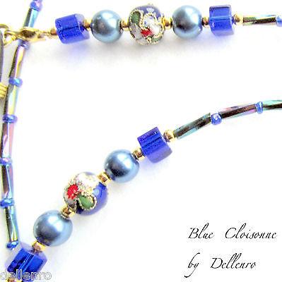 ✫Blue Cloisonne✫ Beaded Eyeglasses Spectacles Glasses Chain Holder Cord