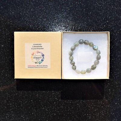 CHARGED Labradorite Crystal Bracelet Tumble Polished Stretchy ENERGY REIKI 8