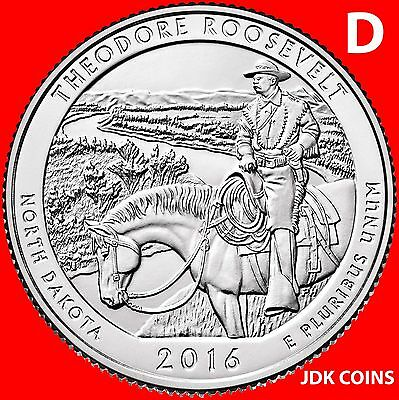 2016 Pds Theodore Roosevelt National Park (Nd) Three Quarters Set Uncirculated 3