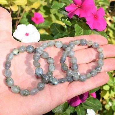 CHARGED Labradorite Crystal Bracelet Tumble Polished Stretchy ENERGY REIKI 9