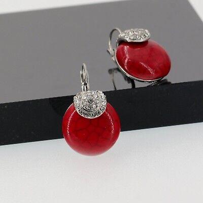 Boucles d`Oreilles Dormeuses Argenté Goutte Turquoise Rouge Classique Retro D6