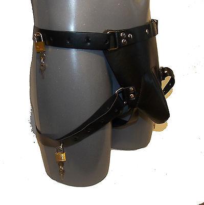 Men's Locking Chastity Belt with 5 Brass Lo-  Size:M-L - Schwarz (413) 2