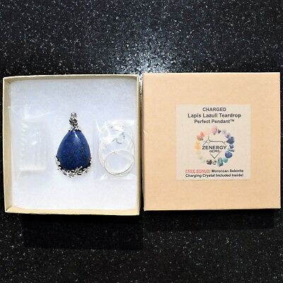 "Perfect Pendant™ - Lapis Lazuli Teardrop Pendant + 20"" Chain: ZENERGY GEMS™ 4"