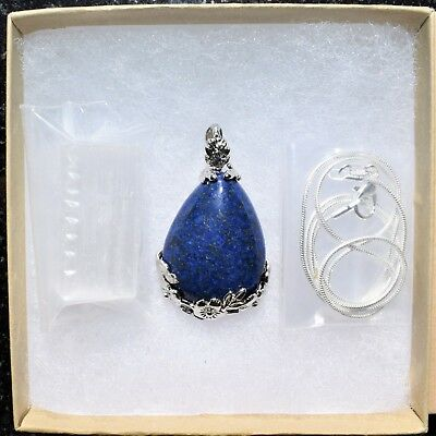"Perfect Pendant™ - Lapis Lazuli Teardrop Pendant + 20"" Chain: ZENERGY GEMS™ 5"