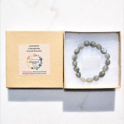 CHARGED Labradorite Crystal Bracelet Tumble Polished Stretchy ENERGY REIKI 5
