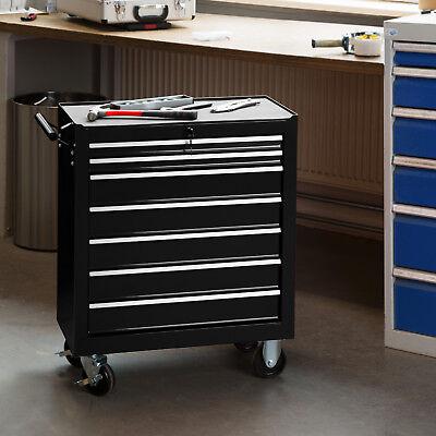 Chariot d'atelier 7 tiroirs à boîte outils caisse à roulettes garage noir