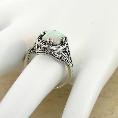 Victorian White Lab Opal 925 Sterling Silver Antique Style Ring Sz 10,#721 4