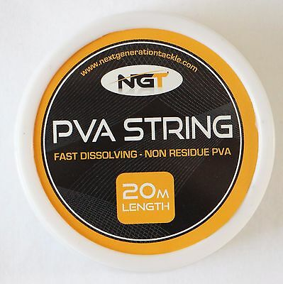 NGT Carp Fishing Bait Non Residue PVA String or Tape 20M Rolls Fast Disolving