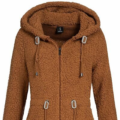 Sublevel Damen Fleece-Jacke mit Kunstfell /& Teddy-Fleece