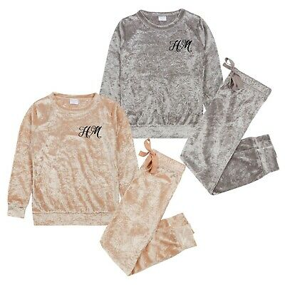 Girls Crushed Velvet PINK  SILVER Lounge Set Sweatshirt PERSONALISED EMBROIDERED 2