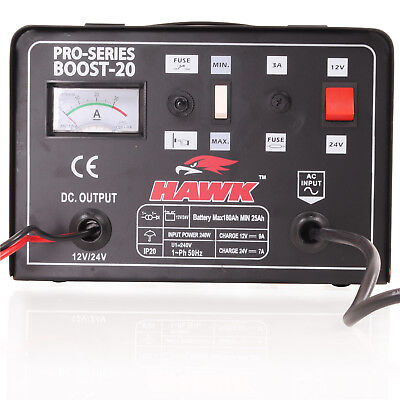 Hawk 230V 12V 24V 9A Car Van 4X4 Battery Fast Charge Power Booster Charger