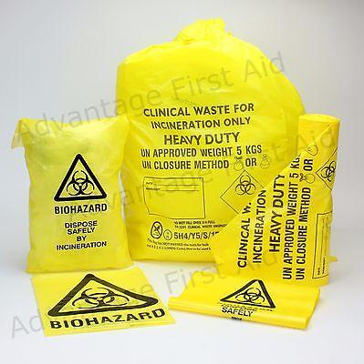 25 x Strong Clinical Waste Biohazard Bio Hazard Yellow Bags 203mm x 354mm
