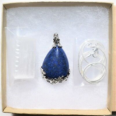 "Perfect Pendant™ - Lapis Lazuli Teardrop Pendant + 20"" Chain: ZENERGY GEMS™ 7"