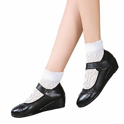 Girls Flat toe seam Cotton Pointelle Ankle School Socks White Sensitive feet 2