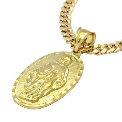 """Mens 18k Gold Plated  Oval Guadalupe Pendant 5mm 24"""" Cuban Necklace Chain(H) 4"""