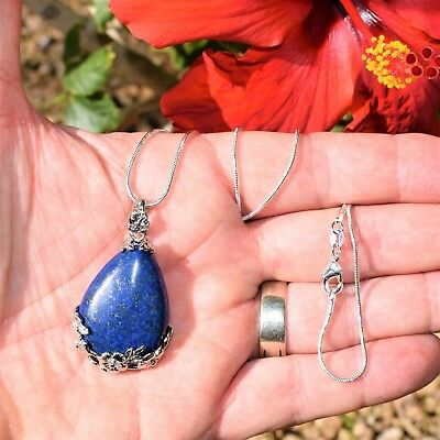 "Perfect Pendant™ - Lapis Lazuli Teardrop Pendant + 20"" Chain: ZENERGY GEMS™ 3"
