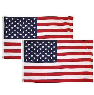 3x5 Ft American Flag w/ Grommets ~2 Pack~ USA United States of America ~US Flags 10