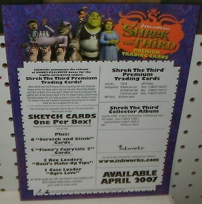 Promotional Sell Sheet 8 1 2 X11 Shrek The Third Trading Cards Other Non Sport Card Merch