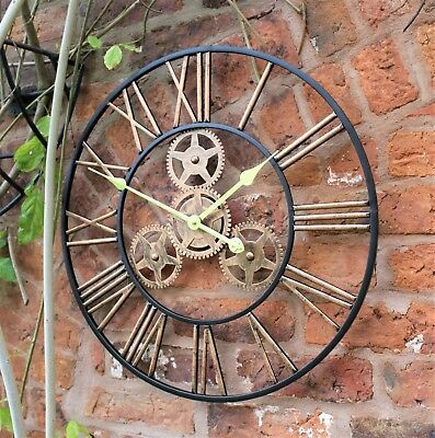 Large Metal Skeleton Wall Clock Antique gold Home Decor Round 58cm Indoor & Out 3