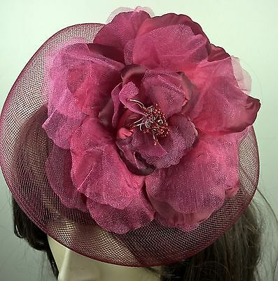 dark red satin flower fascinator millinery burlesque wedding hat bridal race 2