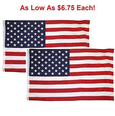 3x5 Ft American Flag w/ Grommets ~2 Pack~ USA United States of America ~US Flags 12