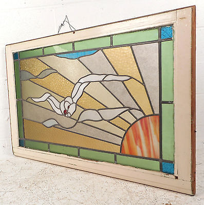 Vintage European Seagull Stained Glass Window Panel (2958)NJ 3