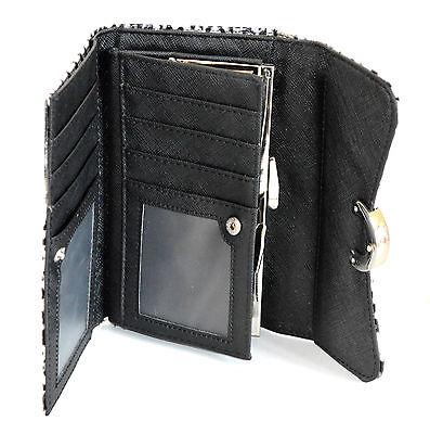 2908a95411 ... BORSELLO PORTAFOGLIO donna NERO BIANCO pochette animalier pelle clutch  bag 1260 2