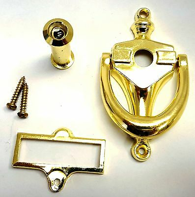 "NEW 3 7/8"" x 2 1/8"" Bright Brass Door Knocker with Viewer and Name Plate DK-976 4"