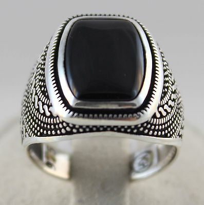 925 Sterling Silver Turkish Handmade Ottoman Onyx Men's Luxury Ring All Size US