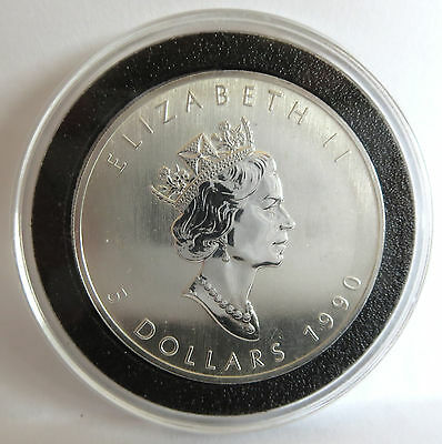 1990 Queen Elizabeth .9999 Fine Silver Vintage Canada Maple Leaf Coin 1 Troy Oz 8