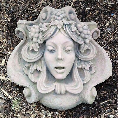 Sonnenuhr Platte Trauben Antik Sandstein Look Steinguß Wandbild C 04 GRAU
