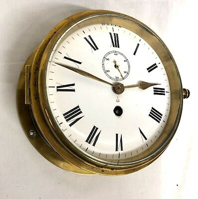 Antique Ships Marine Bulkhead Bulk Head Brass Cased Ships Clock ENAMEL DIAL 3