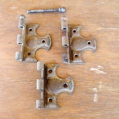 3 Rusty Antique Vintage Decorative Hinge Halves & 1 Ball Shaped Pin Re-Purpose 3