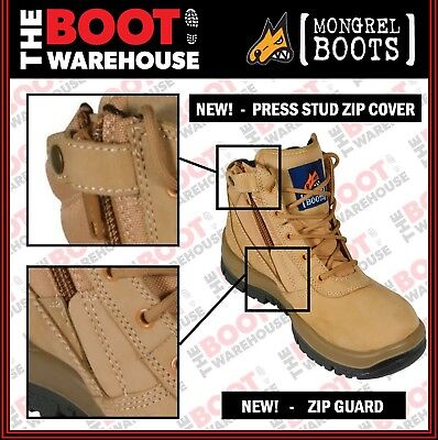 Mongrel 261050 Work Boots. Steel Toe Safety.  Wheat Zip-Sider,  PRESS STUD CLIP! 3