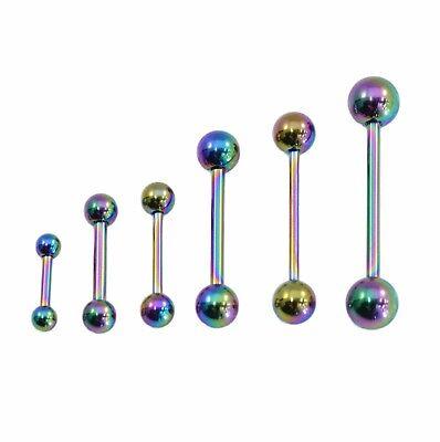 Rainbow Tongue Bar Straight Barbell Piercing Steel Eyebrow Tragus Nipple