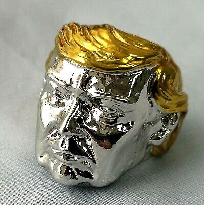 Silver Donald Trump Ring Gold US President Make America Great Again Great Leader 2