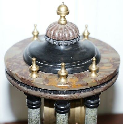 Vintage Marble Pillared Clock With Working Pendulum Movement Nautical Theme 7