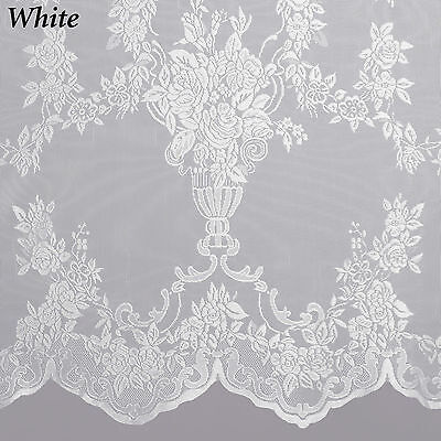 Curtains Ideas cheap lace curtain panels : Carly Lace Curtain Panel With Attached Valance With Tassels ...